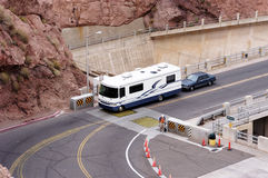Lake Mead National Recreation Area 6. Tourist traffic crossing the Hoover Dam at the Lake mead national recreation area. On the colorado river between Arizona Royalty Free Stock Image