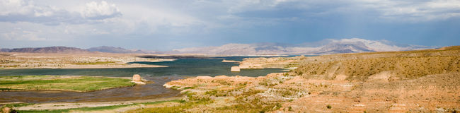 Lake Mead panorama 1. True wide panorama of the western end of Lake Mead, formed by Hoover Dam, near Las Vegas, Nevada, showing a low water level Stock Photos