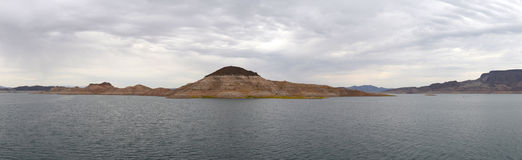 Lake Mead Panorama. A panoramic view of Lake Mead and its various islands, with a clear demarcation where the water level used to rise Stock Photography
