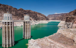 Lake Mead Reservoir and  intake towers of Hoover Dam Royalty Free Stock Images