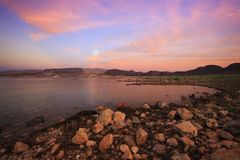 Lake Meade Moonrise. A full moon rises over Lake Mead, Nevada Stock Images