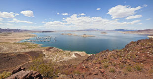 Lake Meade and surrounding mountains panorama. Stock Photo