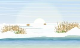 Lake and meadow in early spring. Shore in the snow, the first snowdrops, dry grass. Spring creek stock illustration