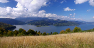 Lake and meadow panorama Stock Image