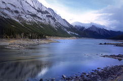 Lake Medicine, Canadian Rockies. On the road to Maligne Lake, Jasper National Park, before sunset royalty free stock photography