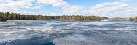 Lake with melting ice Royalty Free Stock Photos