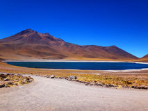 The Lake Meniques of Atacama Desert. Landscape of Lake Meniques, located in the Atacama Desert stock photo