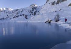 Lake of Mercantour Nationnal Park. Lake frozen, ice Stock Photo