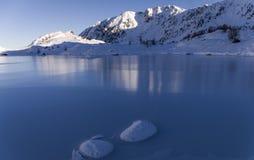 Lake of Mercantour Nationnal Park. Lake frozen,ice,Lake of Mercantour Nationnal Park,Vallée des Merveilles Royalty Free Stock Image