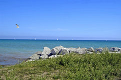 Lake Michigan. A picture of Lake Michigan on a summer day taken from a cliff Royalty Free Stock Photo