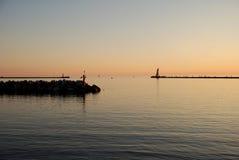Lake Michigan. At Ludingtom Michigan.  Sunset shot just before the 4th of July Fireworks Display Royalty Free Stock Photo