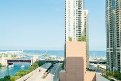 Lake Michigan aerial view through apartment buildings from East Stock Photo