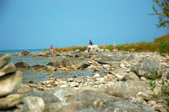 Lake Michigan Beach. The rocky shore of Lake Michigan near Traverse City Michigan USA royalty free stock photography