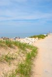 Lake Michigan Beach. Families on vacation holiday playing in the sand at Lake Michigan Stock Images