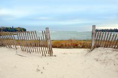 Lake Michigan Beach with Fence stock images