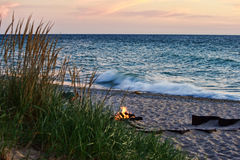 Lake Michigan Beach Fire Royalty Free Stock Image