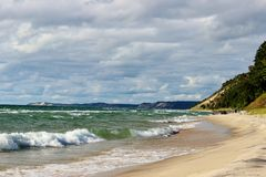 Lake Michigan Beach. Sandy beach on Lake Michigan in Arcadia, Michigan Royalty Free Stock Image