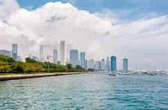 Lake Michigan with Chicago Skyline in the background Stock Photography