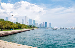 Lake Michigan with Chicago Skyline in the background Stock Photos