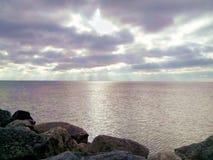 Lake Michigan Dawn, Kenosha,  Wisconsin. Sun rises over water at dawn Royalty Free Stock Photo
