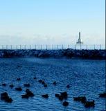 Lake Michigan fyr royaltyfria bilder