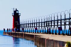 Lake Michigan fyr Royaltyfria Foton