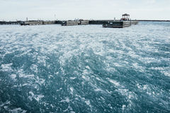 Lake Michigan Ice in Winter. From Chicago, Illinois Stock Photography