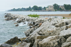 Lake Michigan Kenosha, Wisconsin Arkivfoto