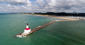 Lake Michigan Lighthouse, Indiana. Officially known as the East Pier Lighthouse, this structure is the icon of Michigan City, Indiana. The aerial views allows royalty free stock photography