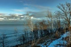 Lake Michigan, når att ha snöat Illinois royaltyfria foton