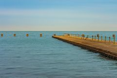 Lake Michigan Pier with Afternoon Sunlight in Chicago royalty free stock images