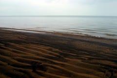 Lake Michigan shoreline. Dark brown sand on the Lake Michigan shorline near Hyde Park, Chicago Royalty Free Stock Images