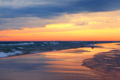 Lake Michigan Sunset and Beach Reflections Royalty Free Stock Photos