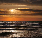 Lake Michigan Sunset, Grand Haven Royalty Free Stock Images