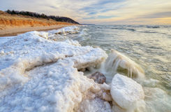 Lake Michigan Winter Shoreline Royalty Free Stock Photo