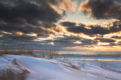 Lake Michigan in Winter. A snowy view of Lake Michigan during winter Stock Images