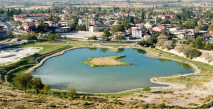 Lake with mineral water. In city Pamukkale royalty free stock photography