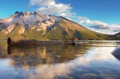 Lake Miniwanker. Dreamy mountain lake scene in Banff royalty free stock photo