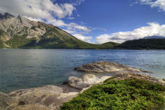 Lake Minnewanka. View of the beautiful Lake Minnewanka in Banff National Park in Alberta Canada's Rocky Mountains Stock Photos