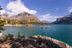 Lake Minnewanka in the autumn`s colors stock images