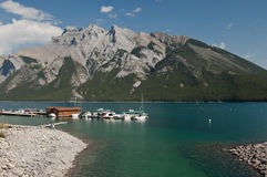 Lake Minnewanka at Banff, Alberta, Canada Royalty Free Stock Images