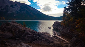 Lake minnewanka bannf mountains view Stock Photos
