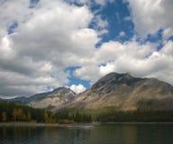 Lake minnewanka bannf mountains view Royalty Free Stock Image