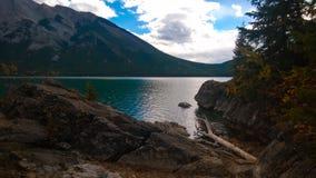 Lake minnewanka bannf mountains view Royalty Free Stock Photo