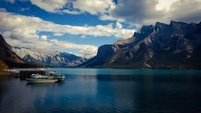 Lake minnewanka bannf mountains view Royalty Free Stock Photos