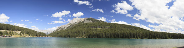 Lake Minnewanka. And clouds in canada Royalty Free Stock Photography