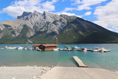 Lake Minnewanka Cruise Boats in Banff National Park Stock Images
