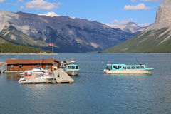 Lake Minnewanka Cruise Boats in Banff National Park Royalty Free Stock Photos
