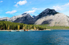 Lake Minnewanka and Mount Astley. Lake Minnewanka or Water of the Spirits in Nakota Stoney Indian language Banff National Park Alberta Canada Royalty Free Stock Images