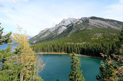 Lake Minnewanka and Mount Inglismaldie Stock Photo